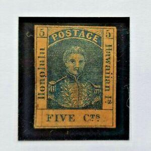 Hawaii - USA - 1853 King Kamahameha III 5c. Blue - Really Nice Stamp!!!