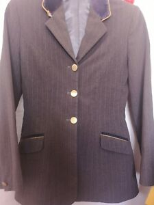 """34"""" -  GREY PIN STRIPE RIDE OUT SHOW  HORSE RIDING DOUBLE VENT JACKET"""