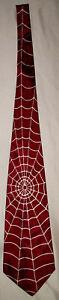 Vintage 40's 50's Haband Rockabilly Spider Web Red and White Necktie Tie