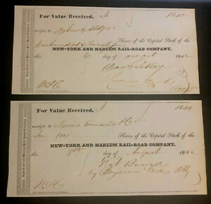 1842 New York and Harlem Rail-Road Stock Transfer Receipts Lot of 2