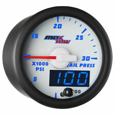 MaxTow 52mm White & Blue Double Vision 30,000 Fuel Rail Pressure Gauge MT-WBDV19