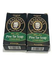 Grandpas Original Wonder Pine Tar Soap Lathers White 4.25 Oz New In Box 2 Bars