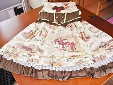 Bodyline Classic Lolita Ivory and Brown Mozart Piano Music JSK Dress Size 2L NWT