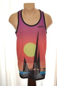 Men NEFF Tank Top Shirt Sail Boat Beach Ocean All Over Print Medium