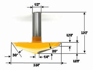 """1pc 1/2""""SH 2-3/4"""" Dia French Provincial Plunge Raised Panel Router Bit S"""