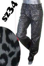 LEOPARD VELVET pant black vtg 34 goth jean matrix gothic leather punk steam 1980