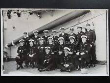 Naval Royal Navy OFFICERS GROUP PORTRAIT aboard unknown ship - Old RP Postcard
