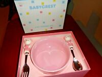 3 Pc Pink Baby Girl's Feeding Set by BABYCREST Bowl Fork Spoon Made In Japan New