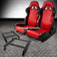 2 X RED/BLACK PVC LEATHER RACING SEATS+LOW MOUNT BRACKET FOR 97-04 CORVETTE C5