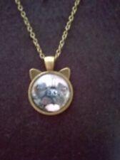 Pug dogl eared pendant cute  / glass on bronze alloy setting / 25mm