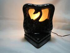 VINTAGE RARE 1950s Black SWAN TV LAMP Ceramic Art Pottery WORKS