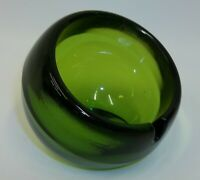 Vintage MCM Green Art Glass Orb Ball Ashtray Paperweight