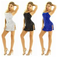 Women Sexy Sequins Dancewear Jazz Ballroom Dance Costume Ladies Latin Dress