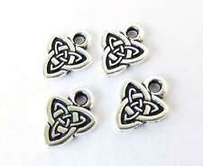 Antiqued Silver Ox Charm Celtic Triad Triangle Knot TierraCast 10mm