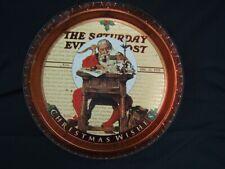 "Vintage Saturday Evening Post Christmas Round Metal Tray 13"" Diameter VGC"