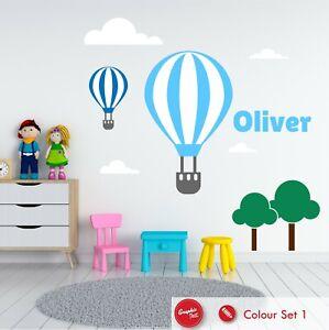 Hot Air Balloon Personalised Nursery Wall Sticker Children's Bedroom Vinyl Decal