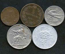 Italy 1909 2 Cents 1862'N' 5 Cents 1909 20 Cents 1922 1 Lira & 1949 5 Lira Coins
