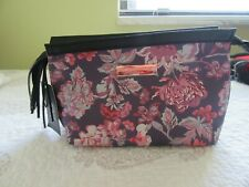 Escape to Paradise Makeup, cosmetic bag,NWT floral print,fringe zipper pull