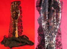 Vintage Victorian Antique Black Chantilly Bobbin Lace Dress Trim Yardage 2 Yards