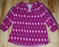 Womens Crown & Ivy Shirt Top Blouse Size XS X-Small Pink/Blue