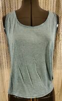 BDG Teal Blue-Green Loose Sleeveless Stretchy Top Small Woman Wife-Beater Shirt
