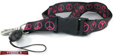 Pink & Black Peace Sign Lanyard Key Chain ID Badge Cell Phone Holder Necklace