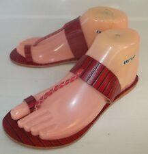 Free People Bora Bora Wos Sandals Flats EU 36 US 6 Red Black Striped Leather NEW