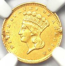 1856 Indian Gold Dollar Coin G$1 - NGC XF Details (Mount Damage) - Rare Coin!