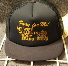 Vintage Mesh Snapback Trucker Hat Pray for me! My Wife Collects Teddy Bears Cap