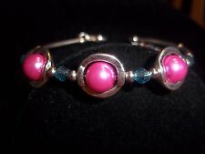 Hot Tibetan Silver Fashion Jewelry Pink Glass Pearl & Blue Crystal Bracelet S-09