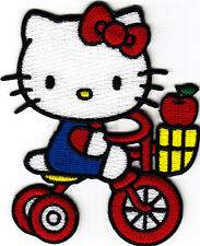 HELLO KITTY ON TRICYCLE - Cartoon Character/Iron On Embroidered Applique Patch