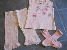 Naartjie Set Peach Embroidered Floral A Line Top Pedal Print Trim size 3, 4