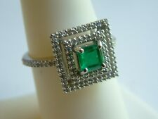 Beautiful SQUARE EMERALD & DIAMOND Ring 14k solid white Gold $3000