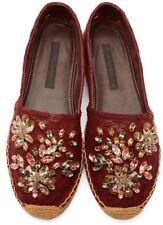 Espadrilles Dolce & Gabbana Embellished Lace 35 5 Flats Burgundy Bordeaux