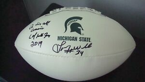 Lorenzo White AUTOGRAPHED MICHIGAN STATE WHITE PANEL LOGO FOOTBALL SIGNED CFHOF