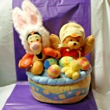 Disney Exclusive Tigger Bunny Pooh Chicken Easter Themed Singing Plush in Basket