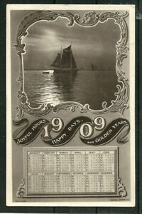 Postcard  : Calendar for year 1909, Happy Hours, Happy Days, Golden Years, RP