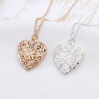 Charm Women Hollow Heart Photo Locket Pendant Chain Necklace Jewelry