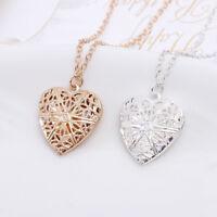 Charm Women Hollow Heart Photo Locket Pendant Chain Necklace Jewelry