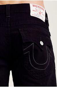 True Religion Men's Straight Leg w/ White Stitch Jeans in Jet Black