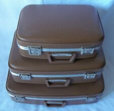Vintage 3pc Luggage Suitcase Set Brown Exterior All fit in one for storage