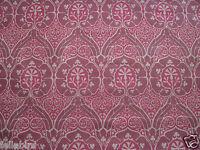 """WILLIAM MORRIS CURTAIN FABRIC DESIGN """"Voysey"""" 3.85 METRES (385 cm) RED LINEN MIX"""
