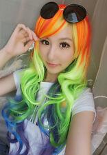 My Little Pony Rainbow Dash Cosplay Full Long Wavy Curly Wig Fashion New
