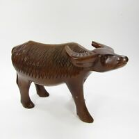 "Vintage Wooden Carved Water Buffalo Ox Sculpture Figure Statue 6"" tall 9"" long"