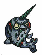 Zombie Narwhal Iron on Embroidered Patch On Hat Jacket