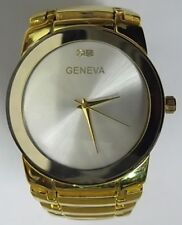 Men's Formal Closed Band Watch Gold Plate 2 Crystal Stones Father's Day Gift NEW