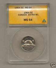 CANADA 1964 5 CENTS - EXTRA WATER LINES -  ANACS MS 64      RARE!!