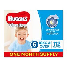 224 Huggies Ultra Dry Nappies,Boys, Size 6 Junior (16kg+) Two-Month Supply Baby