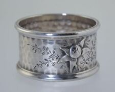 ANTIQUE AESTHETIC HAMMERED STERLING NAPKIN RING w/APPLIED SILVER FLOWER AMERICAN