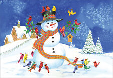 Snowman and Colorful Birds Box of 18 Christmas Cards by Designer Greetings